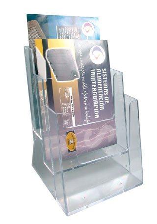 Display plastic pentru pliante, 3 x A4, STEY - transparent