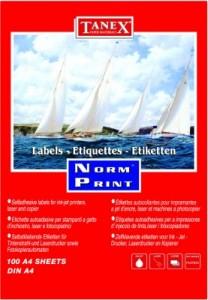 poza Etichete autoadezive albe pentru CD, d. ext. 117mm, d. int. 17mm, 100 coli/top, TANEX Norm-Print
