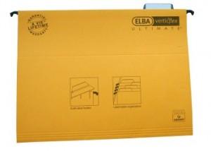 poza Dosar suspendabil cu eticheta, bagheta metalica, carton 330g/mp, ELBA Verticflex Ultimate - galben