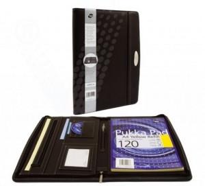 poza Portfolio A4, cu fermoar, buzunar expndabil, loc pentru blocnotes, buzunar CD/carti vizita - negru