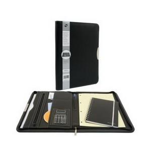 poza Portfolio A4, cu fermoar, buzunar expndabil, loc pentru blocnotes, calculator - negru