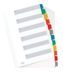 poza Index carton alb Mylar numeric 1-12, margine PP color, A4 XL, 170g/mp, ELBA