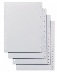 poza Separatoare din plastic cu index 1-20, A4, ELBA
