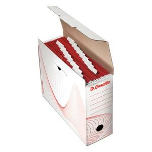 poza Cutie arhivare din carton, pentru 10 dosare suspendabile, ESSELTE - alb