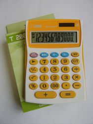 poza Calculator 12 dig, culori:orange, rosu, dimensiune medie, cu tasta GT