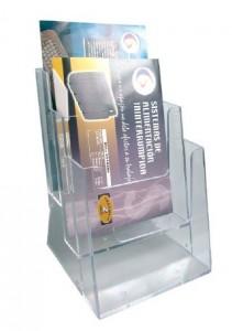 poza Display plastic pentru pliante, 3 x A4, STEY - transparent