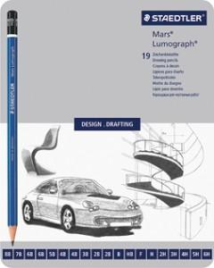 poza Set creion Lumograph  8,7,6,5,4,3,2,1-B;HB,F;1,2,3,4,5,6-H STAEDTLER