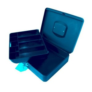 poza Caseta (cutie) metalica pentru bani, 300 x 240 x 90 mm, cu tavita monezi euro - gri TURIKAN