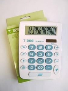 poza Calculator 12 dig, format modern, carcasa alba si taste bleu, dimensiune medie