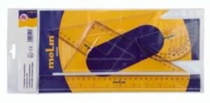 poza Set geometrie, contine: rigla 30 cm, raportor, 2 echere, MOLIN