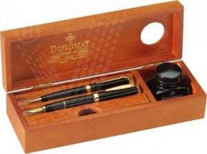 poza Cutie din lemn de cires, pentru 2 instrumente de scris + calimara cu cerneala, DIPLOMAT
