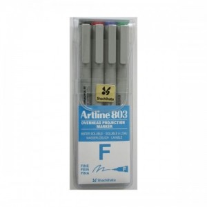 poza OHP Non-Permanent marker fine -  0.5mm, 4cul/set, ARTLINE 803 - (BK,RE,BL,GR)
