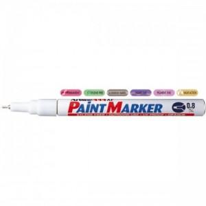 poza Marker cu vopsea varf rotund 0.8mm, corp metalic, ARTLINE 444XF - alb
