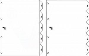 poza Index reversibil numeric 1- 5/ 5-1, A4, carton alb 190g/mp, KANGARO Easy Move