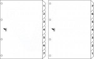 poza Index reversibil numeric 1- 7/ 7-1, A4, carton alb 190g/mp, KANGARO Easy Move