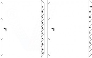 poza Index reversibil numeric 1-10/10-1, A4, carton alb 190g/mp, KANGARO Easy Move