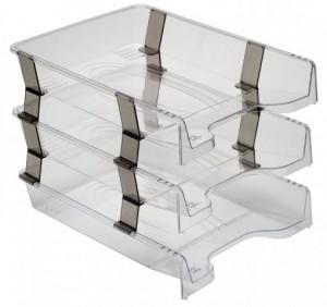 poza Tavite plastic suprapozabile 3/set cu distantier - transparent, fumuriu