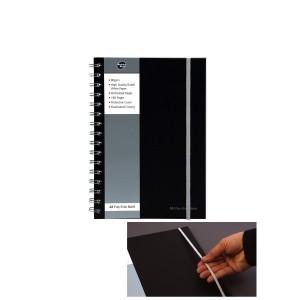 poza Caiet cu spirala dubla A6, 80 file 80g/mp, coperti PP, cu elastic, Business Black - dictando