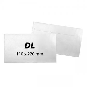poza Plic DL, 110 x 220 mm, alb, banda silicon, 80 g/mp, 25 bucati/set