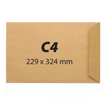 poza Plic C4, 229 x 324 mm, kraft, banda silicon, 90 g/mp, 25 bucati/set
