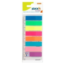 poza Stick index plastic transp. color 45 x 12 mm, 8 x 25 file/set + rigla, Stick