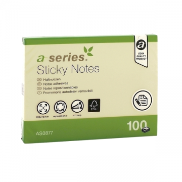 poza Notes autoadeziv A-Series, 100 x 75 mm, 100 file, galben