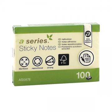 poza Notes autoadeziv A-Series, 50 x 75 mm, 100 file, galben