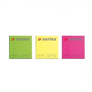 poza Notes autoadeziv A-Series, 75 x 75 mm, 100 file, diverse culori