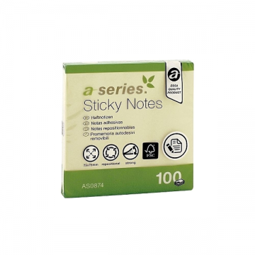 poza Notes autoadeziv A-Series, 75 x 75 mm, 100 file, galben