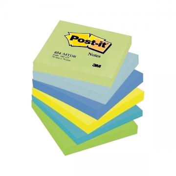 poza Notes autoadezivPost-it, 76 x 76 mm, 100 file/set,6buc/set, nuante neon de verde, albastru, galben