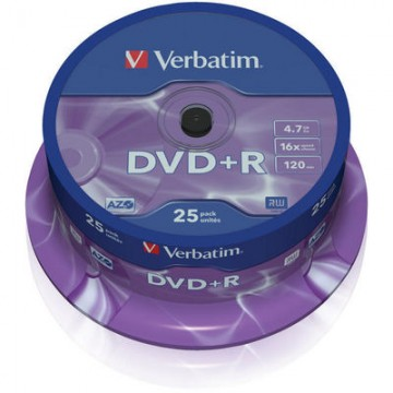 poza DVD+R, 4.7GB, 16X, 25 buc/bulk, VERBATIM Matt Silver