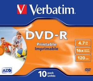 poza DVD+R, 4.7GB, 16X, carcasa jewel, printabil, VERBATIM Wide Photo Printable - ID Branded