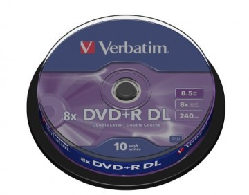 poza DVD+R, 8.5GB, 8X, 10 buc/bulk, VERBATIM Double Layer Matt Silver