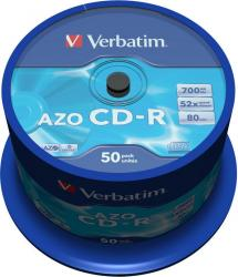 poza CD-R, 700MB, 52X, 50 buc/bulk, VERBATIM AZO Crystal