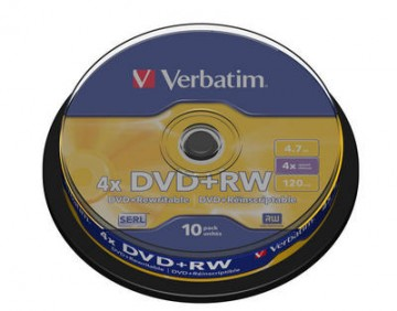 poza DVD+RW, 4.7GB, 4X, 10 buc/bulk, VERBATIM Matt Silver