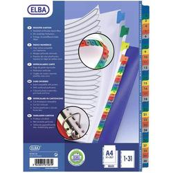 poza Index carton alb Mylar numeric 1-31, margine PP color, A4 XL, 170g/mp, ELBA