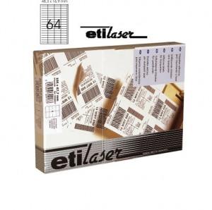 poza Etichete autoadezive  64/A4, 48,3 x 16,9 mm, 200 coli/top, ETILASER - albe